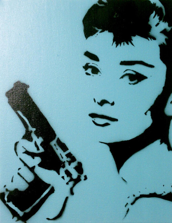 BLOODBATH AT TIFFANY'S v3 Audrey Hepburn wall art by MrMahaffey