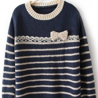 Apricot Blue Long Sleeve Striped Bow Sweater - Sheinside.com