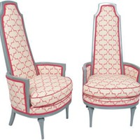 One Kings Lane - Jeannie Fraise, Lotus Bleu - Gray High-Back Vintage Chairs, Pair
