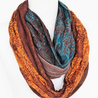 Colorful Cotton Long Scarf, Infinity, Camel, Gift