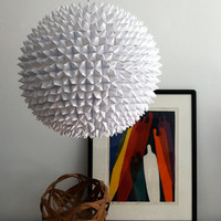 Large Faceted Pendant Light White Folded Paper by Zipper8Lighting