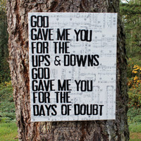 16x20 &quot;God gave me you&quot;  Blake Shelton -  Lyrics, vintage sheet music - Country Music