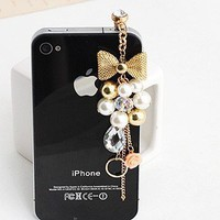 Earphone Jack Accessory Gold Plated Pink Flowers Golden Bow Crystal Golden Beads Pearl / Dust Plug