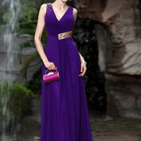 Gorgeous Paillette Adorned Pleated Long Dresses Purple : Wholesaleclothing4u.com