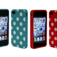 Combo 2in1 Turquoise Red Polka Dot Flex Gel Case for Iphone 4 and 4S