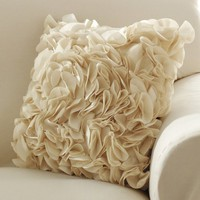 Ruffle Petal Accent Pillow Cover W/ Zip Closure Cream by Winston Brands