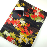 iPad Cover / Retro iPad 4 Sleeve / Kimono Tablet sleeve With Zippered Pocket Kimono Cotton Fabric Maple Leaf Black