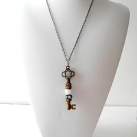 Skeleton Key Necklace Vintage Style Charm Antiqued Bronze Pendant Aqua and Pink Lampwork Glass Bead Long Chain Large Key
