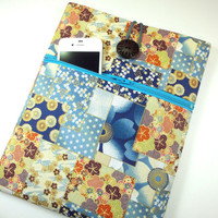 Handmade iPad Bag, Fabric iPad covers, iPad 4 sleeve Kimono cotton fabric cherry blossoms flowers blue