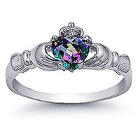 Rhodium Plated Sterling Silver Wedding & Engagement Ring Rainbow Topaz CZ Claddagh Ring 9MM ( Size
