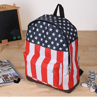 Hot Sale New Women USA Flag Canvas Punk Shoulder School Campus Book Bag BackPack