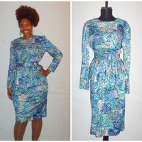 Vintage 1980s Layered Peplum Dress Light Blue