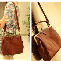 Retro Vintage Lady PU Leather Shoulder Satchel Tote Bag Purse Handbag Adjustable
