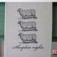 Sheepless Nights Tea Towel by Bravura on Etsy