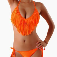 Cloris Murphy Sexy Fringed Tassel Orange Triangle Bikini Halter Top & Bottom Swimwear Bathing Suit