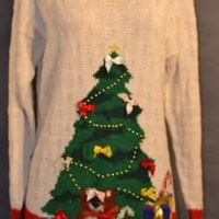 Beige/Multicolor Beaded Christmas Tree WESTBOUND Long Sweater/Dress Size Large | eBay