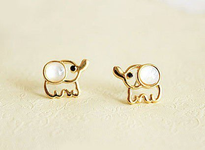 Lovely Beige Opal Elephant Stud Earrings from http://www.looback.com/