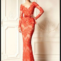 V-neck Sheath Anke Length Lace Ruffle Natural Waist Lace Long Sleeve Zuhair Murad Evening Dresses For Sale Dress - Buy Zuhair Murad Evening Dresses,Zuhair Murad Dresses For Sale,Long Sleeve Evening Dress Product on Alibaba.com