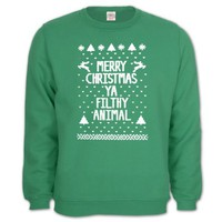 Merry Christmas Ya Filthy Animal Green Medium Sweatshirt