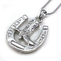 Horseshoe Cowboy Boots Pendant Necklace Lucky Western Cowgirl Charm High Polish Silver Tone Ladies