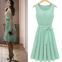 2012 summer new womens sleeveless pleated chiffon vest dress skirt