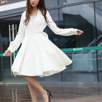 Wedding Dress in White Long Sleeve Evening Dress Coat - NC214