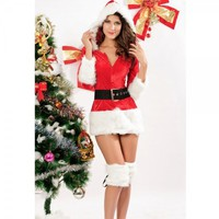 4Pcs Sexy Santa Ladies Christmas Party Dress Long Slevess Free Size  Free Shipping