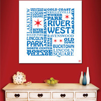 "Typographic Painting on Canvas: ""Chicago Neighborhoods"" (24"" x 24"" x 3/4"")"