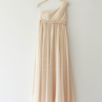 Charming Pleated Asymmetric Shoulder Sleeveless Party Dress For Women