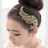 Elegant Wing Pattern and Muti-layered Beads Hair Band