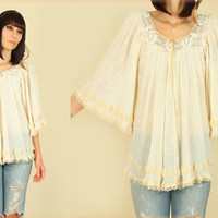 ViNtAgE 70's Sheer Gauze Crochet Natural Cotton Angelwing Babydoll Tunic Top Free Size