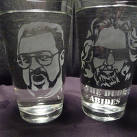 Big Lebowski 16 oz Glasses Set of 2 by geekyglassware on Etsy