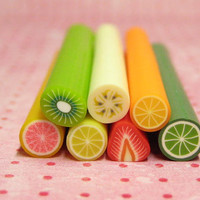 Polymer clay canes fruit 7pcs for miniature foods decoden and nail art supplies lemon lime orange pink grapefruit banana kiwi strawberry