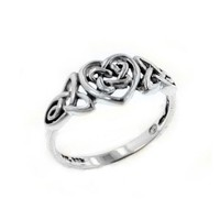 Sterling Silver Celtic Trinity Knot Heart Ring Size 10(Sizes 3,4,5,6,7,8,9,10,11,12,13,14,15)