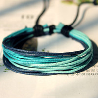 Winter Hot sell Blue Style Lucky Cute Stylish Christmas Gift Adjustable Handmade hemp waxed cord Bracelet M-2