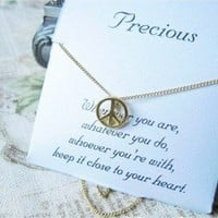 Vintage Peace Sign Pendant Chain Necklace