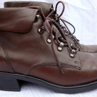 Vintage Dark Brown Indie 80s Leather Ankle Boots