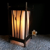 Bamboo lantern with cotton blind table lantern oriental style for home decorate or bedroom lighting