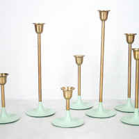 Brass Tulip Candle Holders (Set of 7) - Mint Green, Vintage, Candlestick