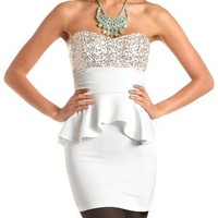 Sequin Bust Scuba Peplum Dress: Charlotte Russe