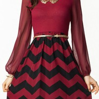 Burgundy Plum Chevron Dress