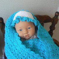 Hand Crocheted Aqua Baby Blanket
