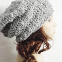 Slouchy Beanie Tam Crochet Womens Adult Teen Girls  Hat Beret Grey Gray Chunky Fall Winter READY TO SHIP