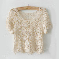 FOREVER21 CREAM LACE CROCHET TOP SIZE SMALL
