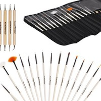 My Beauty Queen - Bundle Monster New Pro 20pc Nail Art Design Painting Detailing Brushes & Dotting Pen / Dotter Tool Kit Set