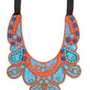 Amazon.com: ZAD Large and Funky Blue and Orange Glass Beaded Bib Tribal Necklace on Black Ribbons to Adjust the Length - AS SEEN IN SEVENTEEN MAGAZINE!!: Jewelry