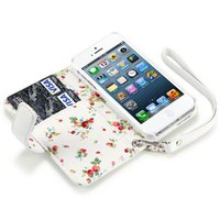 IPHONE 5 PREMIUM PU LEATHER WALLET CASE WITH FLORAL INTERIOR - WHITE
