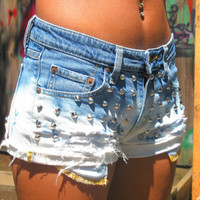 Cone Studded Ombre Bleached Distressed Jean Shorts