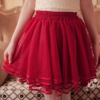 [Free Shipping] Layered Tulle Skirt BF605 Red