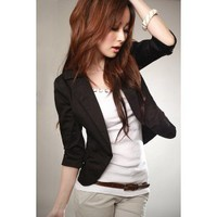 Wholesale Fashionable Elegant Style Suit Collar Lovely Single Button Half Sleeve Coat-Black  http://www.wholesale-dress.net